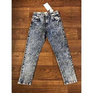 High Rise 90's Skinny Acid Wash Jeans